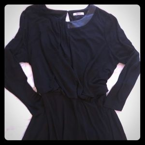 DKNY Black Dress with Pleather detail on the neck